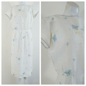 Vintage 50s cotton butterfly embroidered day dress